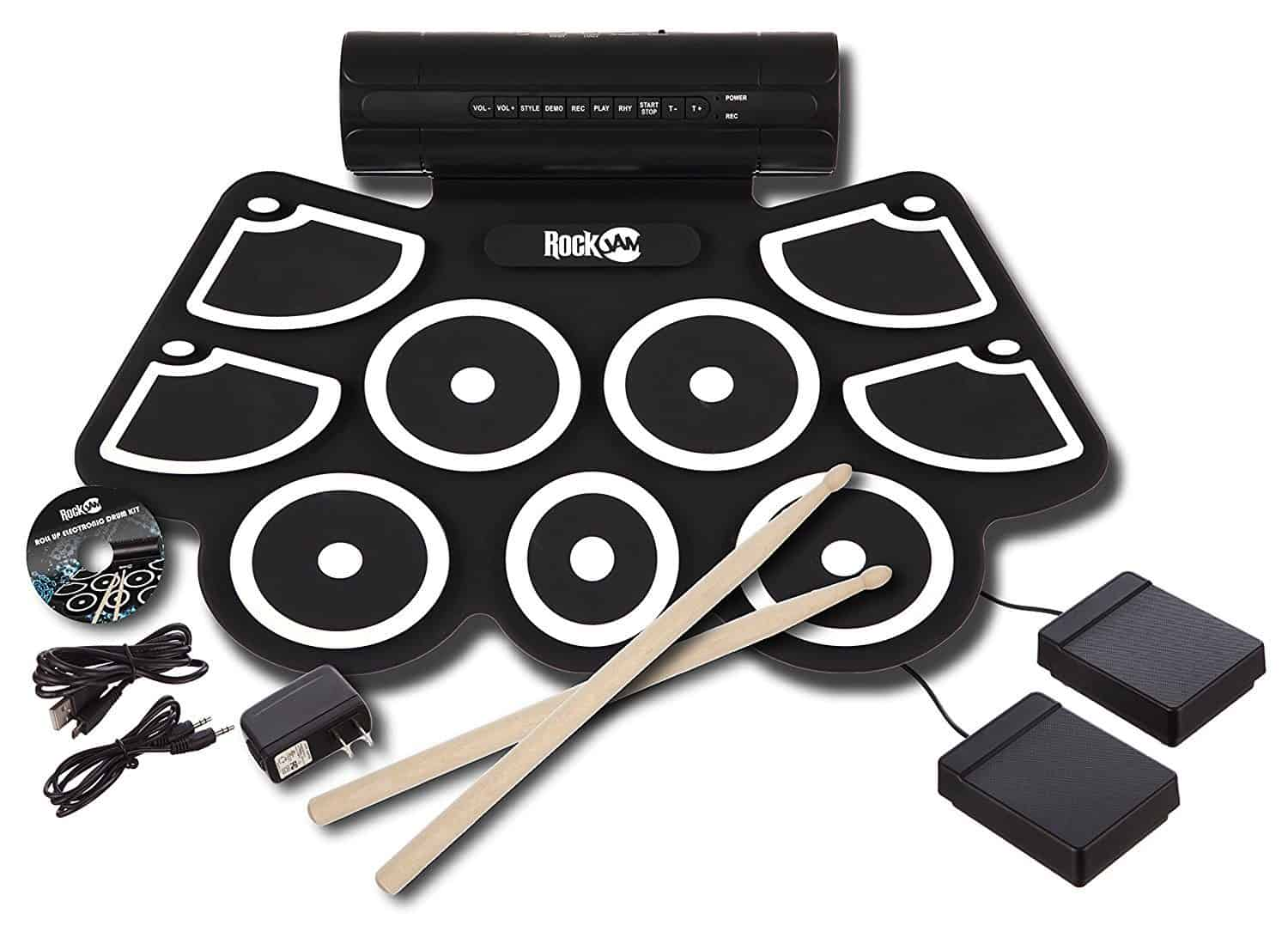 RockJam Electronic Roll Up MIDI Drum Kit with Built in Speakers